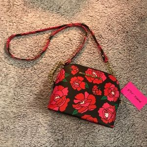 NWT Betsey Johnson Black Floral Crossbody